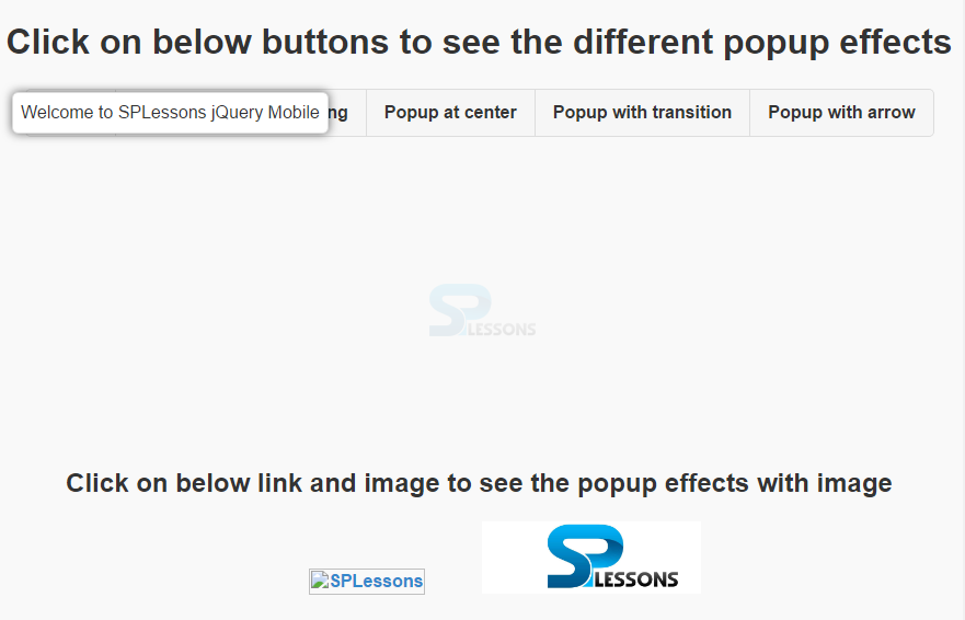 jQuery Mobile Popup - SPLessons