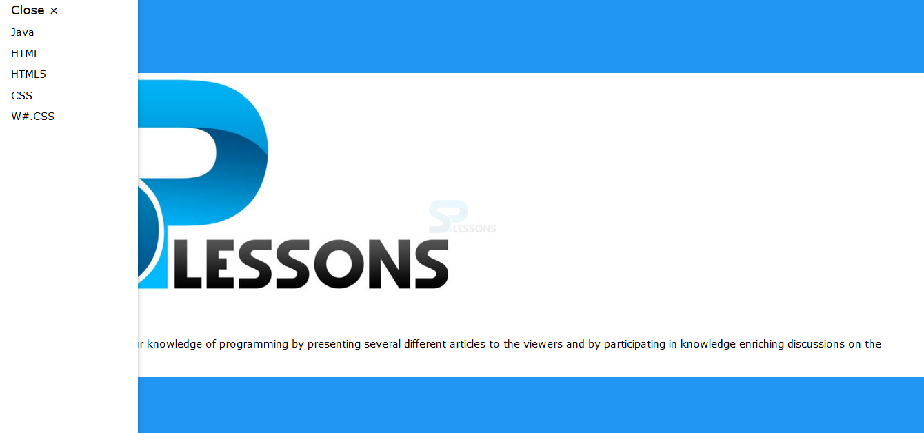 W3CSS Side Navigation - SPLessons