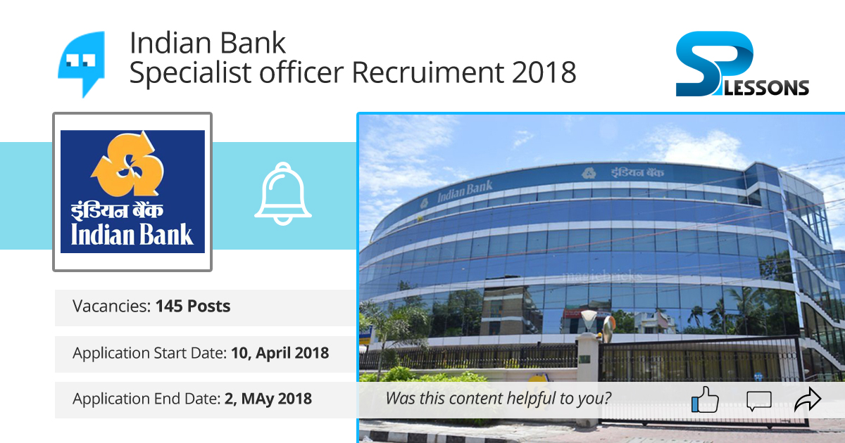 Indian Bank Specialist officer Recruitment